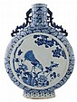 Chinese Qing period pair of blue and white moon flasks