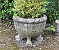 Pair early twentieth-century reconstituted stone urns