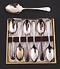 Set of six silver plated tea spoon in case