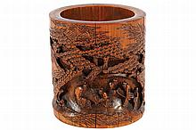 LARGE CHINESE QING PERIOD CARVED BAMBOO BRUSH POT
