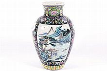 LARGE CHINESE QING PERIOD POLYCHROME VASE