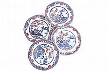 GROUP OF FOUR EIGHTEENTH-CENTURY CHINESE POLYCHROME PLATES EACH OF HEXAGONAL FORM