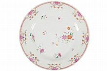 EIGHTEENTH-CENTURY CHINESE EXPORT FAMILLE ROSE AND COLOURED ENAMEL PLATE