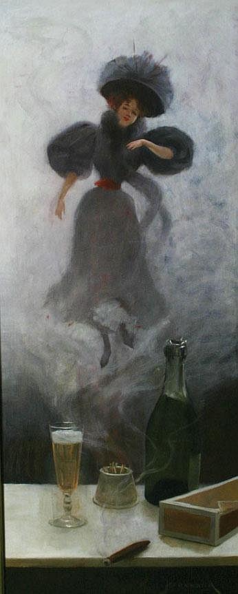 Pierre Bonnaud 1865-1930 Cigar, Champagne and a