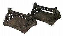 Pair of nineteenth-century Gothic cast iron foot scrapers