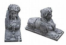Pair of nineteenth-century stone Sphinx