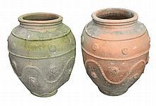 Pair nineteenth-century large Portuguese terracotta urns
