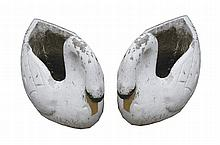 Pair of 1920's composition stone swan planters