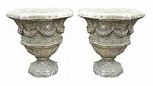 Pair of hexagonal shaped urns