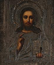 Nineteenth-century Russian painted and metal icon