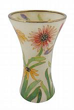 Art Nouveau glass and enamelled chrysanthemum vase,