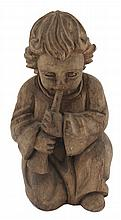 Early carved wood figure of a kneeling cherub