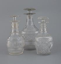 Group of three early Cork glass decanters