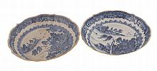Two Chinese eighteenth-century blue and white willow pattern shallow bowls