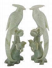 Two twentieth-century jade birds