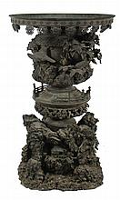 Pair large nineteenth-century Meiji period Japanese highly detailed  bronze sculpted tiered mountain urns