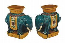 Pair of Chinese polychrome elephant seats