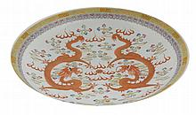 Large Chinese Qing period polychrome charger