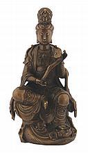 Twentieth-century bronze Guan- Yin holding a  ruyi