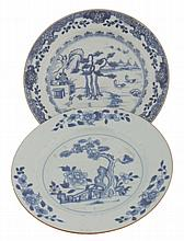 Two Chinese eighteenth-century blue and white plates