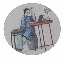 Pair Qing period Chinese paintings on silk