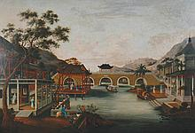 Chinese School, c. 1830 A village on a river with