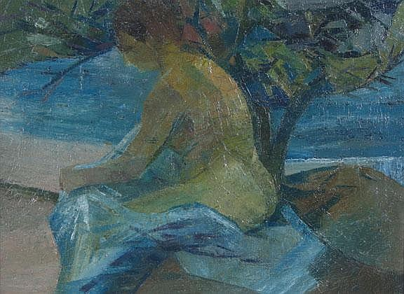 Nancy Ewart, Circa 1950 Bather Oil on Canvas 30 x