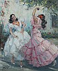 Yves Diey Circa 1892 Spanish Dancers Signed oil on, Yves Diey, Click for value