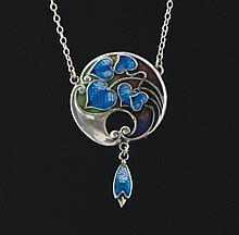 Art Nouveau silver and enamelled drop pendant