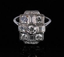 18 ct. Art Deco white gold and diamond 1.25 ct. ring
