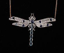 Diamond sapphire and aquamarine dragonfly shaped pendant necklace