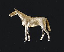 Vintage gilded silver horse brooch