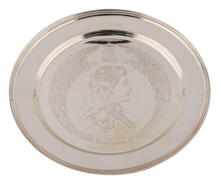 Queen Elizabeth Jubilee commemorative silver plate