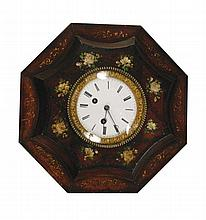 French Toleware, 8 day wall clock, circa 1870