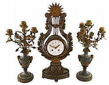 Nineteenth-century brass and marble clock garniture
