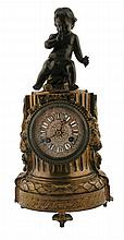 Nineteenth-century French bronze cherub mounted mantle clock