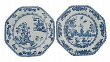 Pair 18th century Chinese blue and white plates