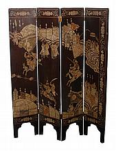Nineteenth-century Chinese four-fold lacquered screen