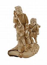 Nineteenth-century Japanese ivory group