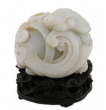 Chinese Qing period jade dragon carving mounted on