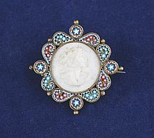 Late Victorian micro mosaic cameo brooch