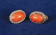 Pair Chinese silver and coral earring the coral in