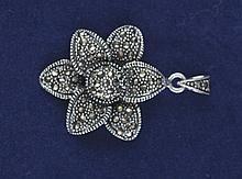 Vintage Art Deco Swiss 925 silver marcasite flower