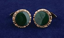 Pair of 18 ct. gold and jade cuff-links