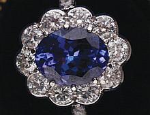 Tanzanite and diamond 18 ct. white gold ring
