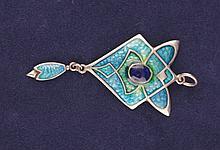 James Fenton Art Nouveau enamel and silver