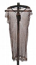 1920's brown net flapper dress with metal beading