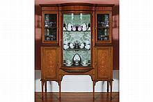 EDWARDIAN PERIOD MAHOGANY AND MARQUETRY DISPLAY CABINET