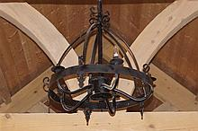 PAIR OF FIVE BRANCH WROUGHT IRON CHANDELIERS
