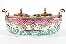 NINETEENTH-CENTURY SAMPSON PORCELAIN AND BRASS INK STAND